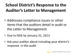 school district s response to the auditor s letter to management