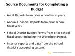 source documents for completing a budget