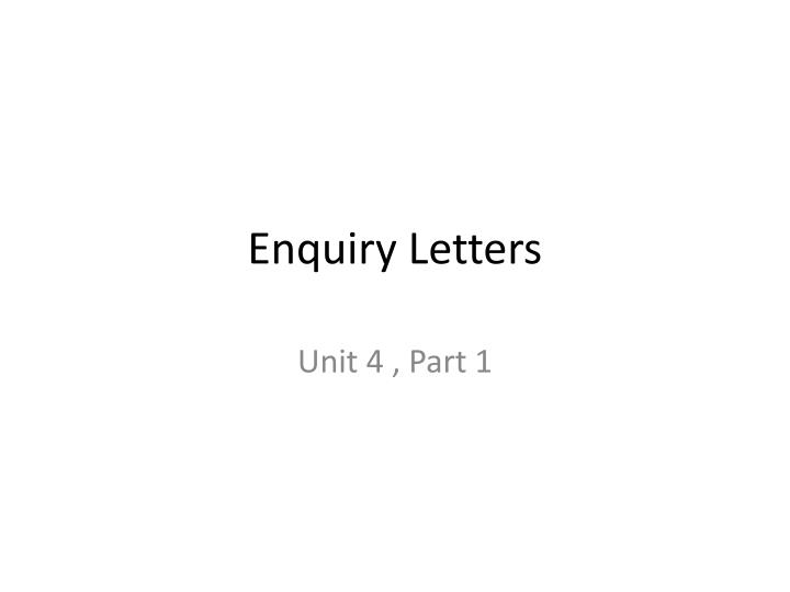 enquiry letters n.