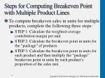 steps for computing breakeven point with multiple product lines