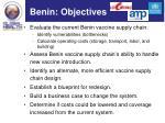 benin objectives