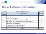use of external confirmations