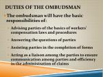 duties of the ombudsman