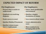 expected impact of reform
