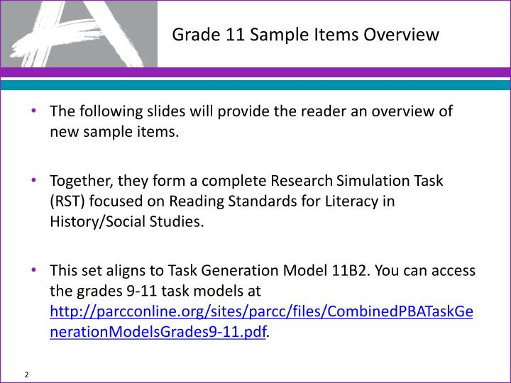 Grade 11 sample items overview