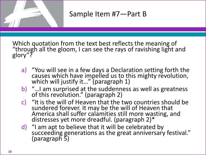 Sample Item #7—Part B