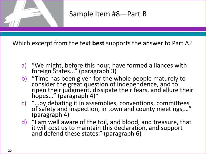 Sample Item #8—Part B