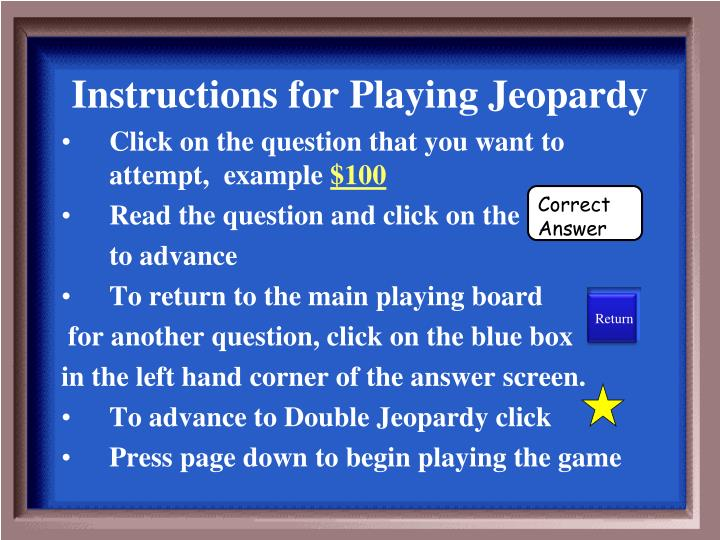 instructions for playing jeopardy n.