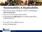 sustainability replicability