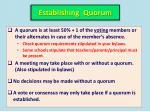 establishing quorum