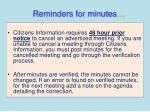 reminders for minutes