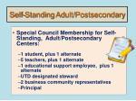 self standing adult postsecondary