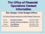 the office of financial operations contact information