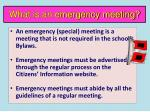 what is an emergency meeting