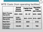 wte costs from operating facilities