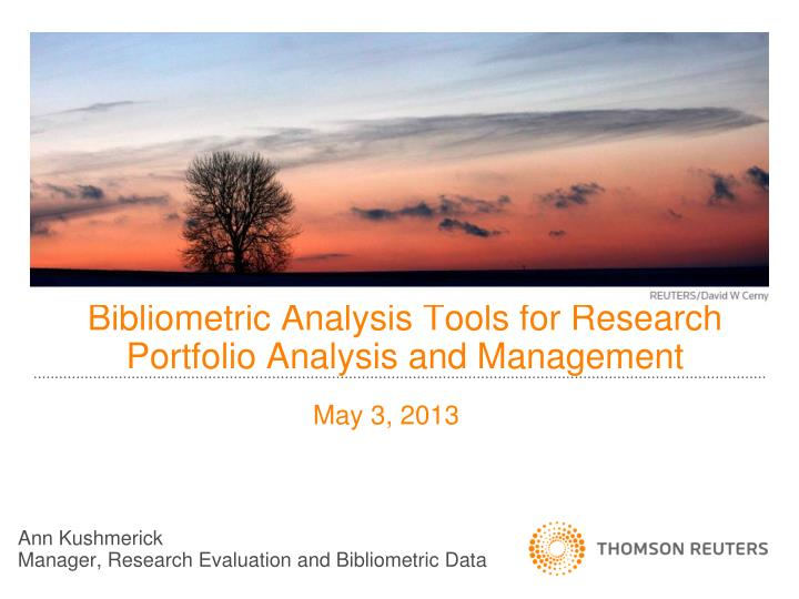 bibliometric analysis tools for research portfolio analysis and management n.