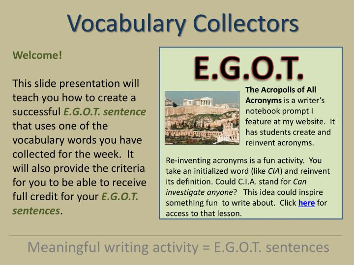 vocabulary collectors n.