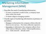 marketing information management mim