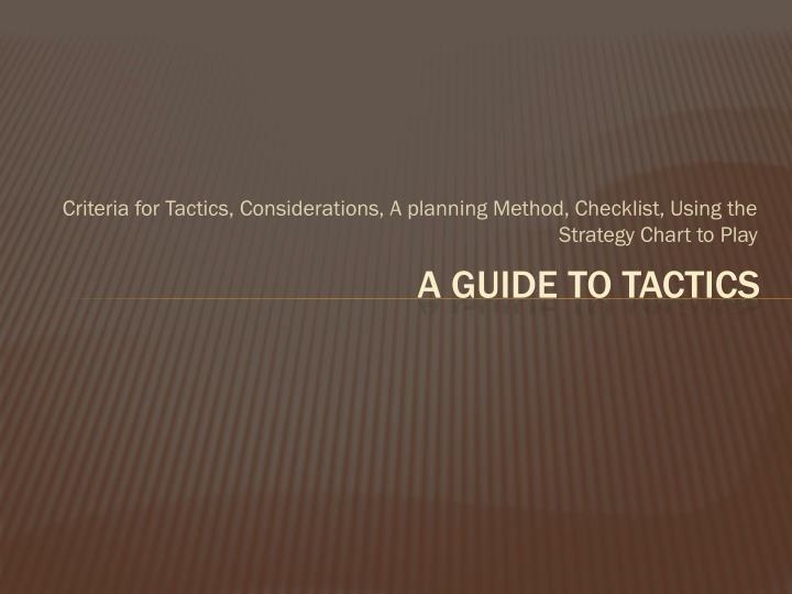 a guide to tactics n.