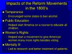 impacts of the reform movements in the 1800 s