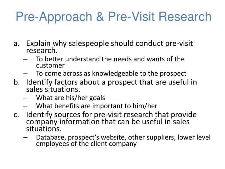 Pre-Approach & Pre-Visit Research