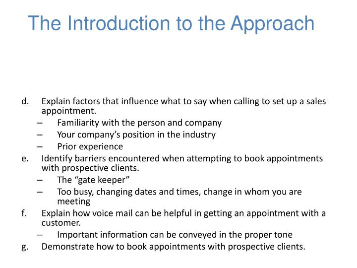 The Introduction to the Approach