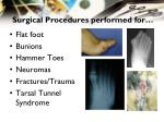 surgical procedures performed for