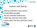 improve cash flow by