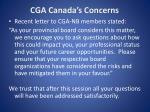 cga canada s concerns