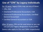use of cpa by legacy individuals