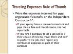 traveling expenses rule of thumb