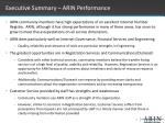 executive summary arin performance