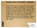 investor return calculation example