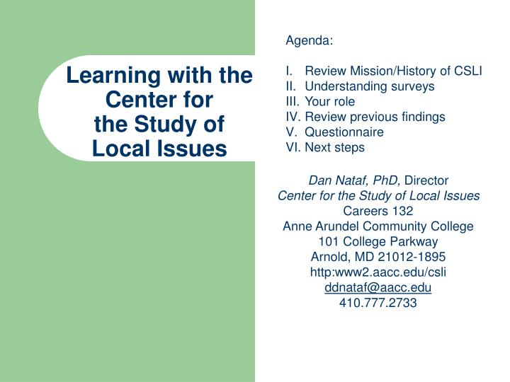 learning with the center for the study of local issues n.