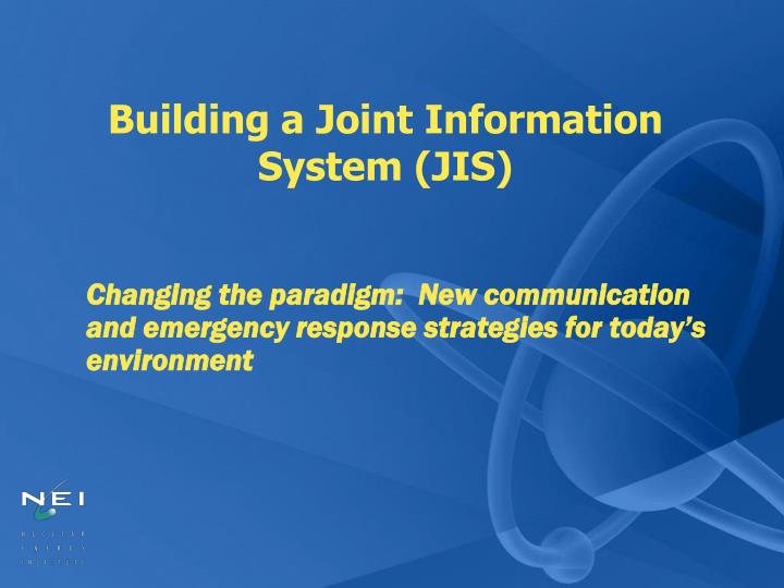 building a joint information system jis n.