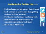 guidance for twitter use cont d