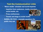 test the communication links