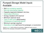 pumped storage model inputs available