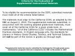 criteria for the evaluation of supplemental instructional materials