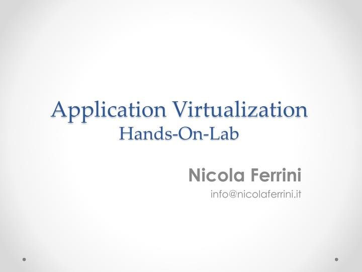 application virtualization hands on lab n.