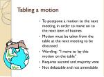 tabling a motion