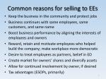 common reasons for selling to ees
