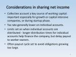 considerations in sharing net income