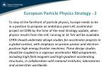 european particle physics strategy 21