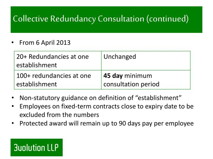 Collective Redundancy Consultation (continued)