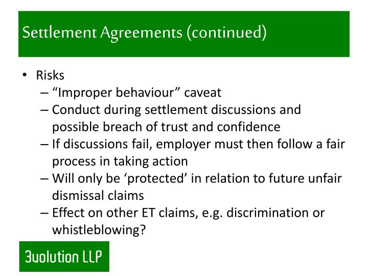 Settlement Agreements (continued)