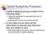 capital budgeting processes