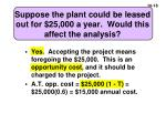 suppose the plant could be leased out for 25 000 a year would this affect the analysis