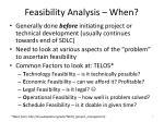 feasibility analysis when