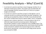 feasibility analysis why cont d